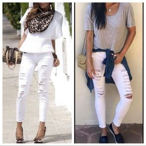 White Fabulous distressed skinny jeans